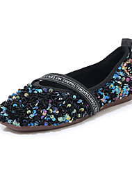 cheap -Women's Flats Crystal Sandals Flat Heel Round Toe Sequin PU Minimalism Spring & Summer Black / Silver / Color Block