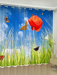 cheap -Red Poppy Digital Printing on The Grass 3D Curtain Shading Curtain High Precision Black Silk Fabric High Quality Curtain