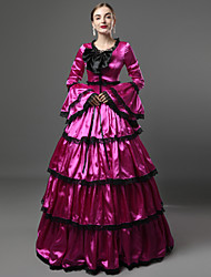 cheap -Rococo Victorian 18th Century Ruffle Dress Dress Party Costume Masquerade Women's Satin Costume Purple Vintage Cosplay Party Prom Long Sleeve Floor Length Long Length Ball Gown / Collar