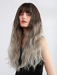 cheap -Bangs Weave Ombre Curly Natural Wave Avril Neat Bang Wig Ombre Long Brown / White Synthetic Hair 24 inch Women's Synthetic Fashion Color Gradient Dark Brown Ombre EMMOR / African American Wig