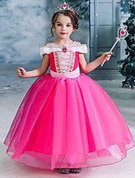 cheap -Fairytale Princess Princess Aurora Dress Flower Girl Dress Girls' Movie Cosplay A-Line Slip Vacation Dress Halloween Yellow Fuchsia Dress Christmas Halloween
