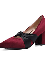cheap -Women's Heels Chunky Heel Pointed Toe Bowknot Synthetics Spring &  Fall Black / Burgundy / Pink / Party & Evening / Color Block