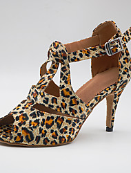 cheap -Women's Dance Shoes Satin Latin Shoes Heel Slim High Heel Customizable Leopard