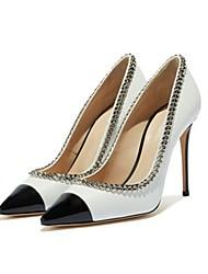 cheap -Women's Heels Stiletto Heel Pointed Toe PU Spring &  Fall Black / Black / White / Color Block