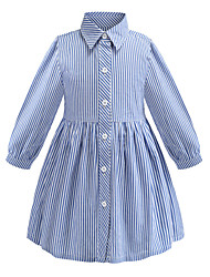 cheap -Kids Girls' Sweet Cute Blue & White Striped Ruched Long Sleeve Above Knee Dress Blue