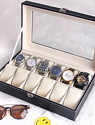 cheap -12-Slot Watch Box with Removable Pillow, Display Case, Synthetic Leather