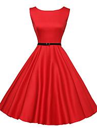 abordables -Audrey Hepburn Rétro Vintage Petite Robe Noire Années 50 Années 60 Taille de guêpe Robe Femme Costume Noir / Rouge Vintage Cosplay Retour Manches Courtes Midi