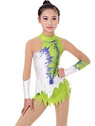 cheap -Rhythmic Gymnastics Leotards Artistic Gymnastics Leotards Women's Girls' Leotard Green Spandex High Elasticity Handmade Print Jeweled Long Sleeve Competition Ballet Dance Ice Skating Rhythmic
