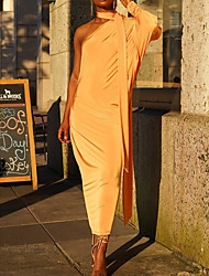 cheap -Women's Daily Wear Street chic Bodycon Dress - Solid Colored Yellow S M L XL