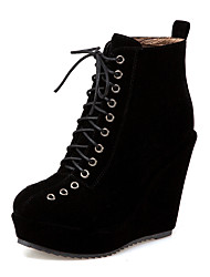 cheap -Women's Boots Wedge Heel Round Toe PU Booties / Ankle Boots Casual / British Fall & Winter Black / Almond / Red / Party & Evening