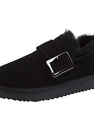 cheap -Women's Flats Flat Heel Round Toe Cowhide Winter Black / Gray / Coffee