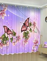 abordables -deux papillons impression numérique 3d rideau rideau d'ombrage haute précision noir tissu de soie rideau de haute qualité