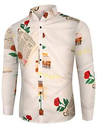 cheap -Men's Shirt Graphic Long Sleeve Daily Tops Button Down Collar White Black