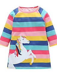 cheap -Kids Girls' Striped Cartoon Dress Black