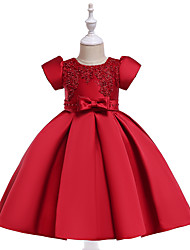 cheap -Kids Toddler Girls' Active Cute Solid Colored Christmas Beaded Bow Embroidered Short Sleeve Knee-length Dress Wine / Pleated