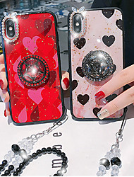 cheap -Case For Apple iPhone XS / iPhone XR / iPhone XS Max Rhinestone / Ring Holder Back Cover Heart Acrylic