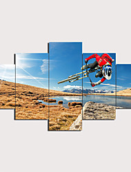cheap -Print Stretched Canvas Prints - Abstract Traditional Modern Five Panels Art Prints