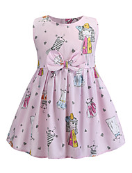 cheap -Kids Girls' Sweet Cute Butterfly Cartoon Bow Sleeveless Above Knee Dress Blushing Pink