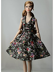 cheap -Doll Dress Party / Evening For Barbiedoll Floral Floral Botanical Black Polyester Dress For Girl's Doll Toy