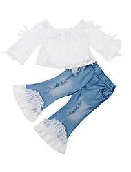 cheap -Baby Girls' Active Solid Colored Lace / Lace Trims Long Sleeve Long Long Clothing Set White