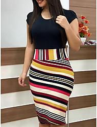 cheap -Women's Daily Wear Basic A Line Dress - Geometric Black S M L XL