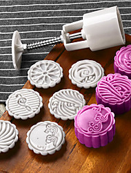 cheap -6pcs Flower Mooncake Mold Mid-Autumn Festival Hand Pressure Mould DIY Tool Cookie Cutter Cake Bakeware 1 Barrel with 5 Stamps Set