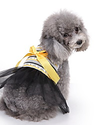 cheap -Dogs Cats Pets Dress Dog Clothes Black Costume Polyster Striped Bowknot Lace Cute XS S M L XL
