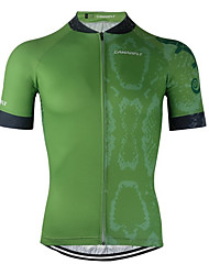 cheap -CAWANFLY Men's Short Sleeve Cycling Jersey Forest Green Bike Jersey Top Mountain Bike MTB Road Bike Cycling Breathable Quick Dry Back Pocket Sports Clothing Apparel / Advanced / Expert / Stretchy