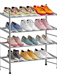 cheap -4 Tier Shoe Rack Metal Shoes Shelves Storage Organizer Rack Stackable Houseware Sturdy Shoe Tower Shoe Stand in Silver for Closet, Bedroom, Dormitory, Hallway