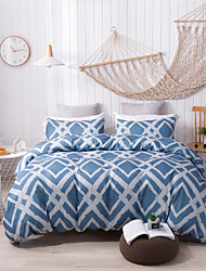 cheap -Duvet Cover Sets Blue & White Plaid/ Checkered Polyester/ Polyamide Printed 3 Piece Bedding Sets