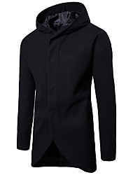cheap -Men's Daily / Work Street chic Fall & Winter Regular Trench Coat, Solid Colored Hooded Long Sleeve Polyester Black