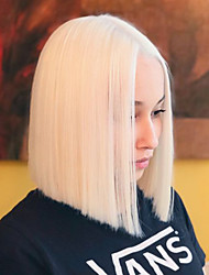 cheap -Synthetic Lace Front Wig Silky Straight Short Bob Lace Front Wig Blonde Short Platinum Blonde Synthetic Hair 8-16 inch Women's Heat Resistant Synthetic Sexy Lady Blonde