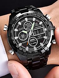 cheap -Men's Steel Band Watches Quartz Black Calendar / date / day Noctilucent Analog Fashion - Black