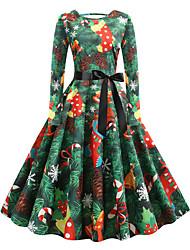 cheap -Women's Christmas Party Daily Wear Basic Swing Dress - Geometric Green S M L XL