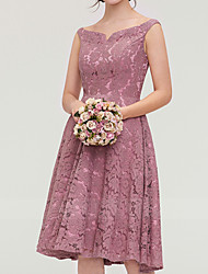 cheap -A-Line V Neck Knee Length Lace Bridesmaid Dress with Pleats