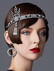 cheap -The Great Gatsby Flapper Headband 1920s / Lace Up / Roaring 20s Women's Black / Silver / Golden Imitation Pearl / Chrome / Rhinestones Party Prom Cosplay Accessories Masquerade Costumes