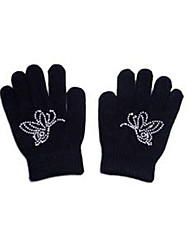 cheap -21Grams Figure Skating Gloves All Ice Skating Dress Black Spandex High Elasticity Training Competition Skating Wear Solid Colored Classic Crystal / Rhinestone Ice Skating Figure Skating