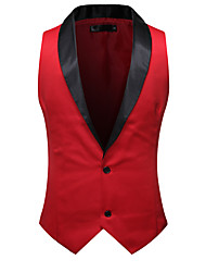 cheap -Men's Vest, Solid Colored Shawl Lapel Polyester Black / White / Red