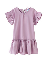 cheap -Kids Girls' Cute Boho Solid Colored Lace up Short Sleeve Knee-length Dress Purple