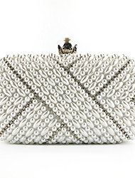 cheap -Women's Pearls / Chain Silk Evening Bag Embroidery White / Beige
