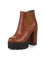 cheap -Women's Boots Chunky Heel Round Toe Buckle Faux Leather Booties / Ankle Boots Casual / Minimalism Fall & Winter Black / Brown / Red / Color Block