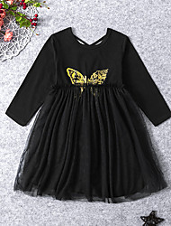 cheap -Kids Toddler Girls' Active Sweet Geometric Mesh Long Sleeve Midi Dress Black