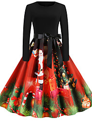 cheap -Women's Snowman Sheath Dress - Long Sleeve Snowflake Print Basic Christmas Party Festival Red S M L XL XXL