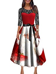 cheap -Women's Christmas Party Maxi A Line Dress - Color Block Red S M L XL