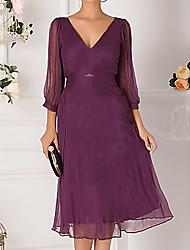 cheap -Women's Red Dress Elegant Cocktail Party A Line Solid Colored Deep V Off Shoulder M L