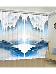 cheap -Creative Painting Mountain Design Digital Printing 3D Curtain Shading Creative Curtain High Precision Black Silk Fabric High Quality First Class Shading Curtain