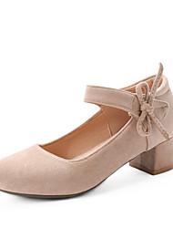 cheap -Women's Heels Chunky Heel Round Toe Bowknot Synthetics Spring &  Fall Black / Almond / Pink