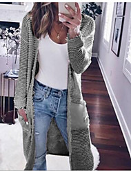 cheap -Women's Solid Colored Long Sleeve Loose Cardigan Sweater Jumper, V Neck Black / Wine / White S / M / L