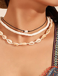 cheap -Women's Necklace Layered Shell Classic Vintage Trendy Fashion Cord Imitation Pearl Chrome White 50 cm Necklace Jewelry 3pcs For Gift Daily Holiday Club Festival
