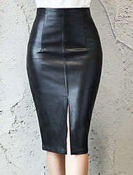 cheap -Women's Office Sexy PU Bodycon Skirts - Solid Colored Split Black S M L / Slim